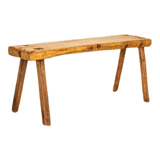 Vintage Slab Wood Plank Console Table With Splay Peg Legs For Sale