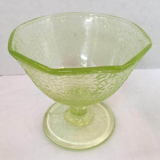 White Cracked Uranium Lime Green Glass Dishes - Set of 6 For Sale - Image 8 of 11