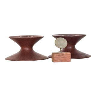 Danish Modern Sculptural Candle Holders in Teak - a Pair For Sale
