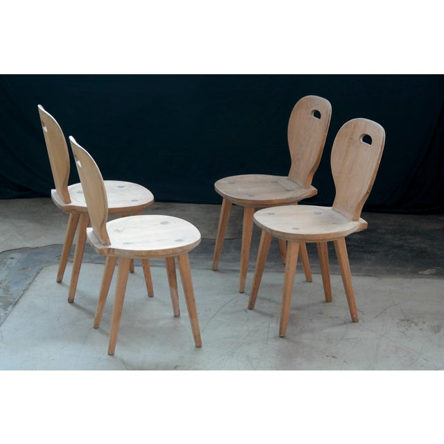 Set Of Four Carl Malmsten Dining Chairs In Natural Pine