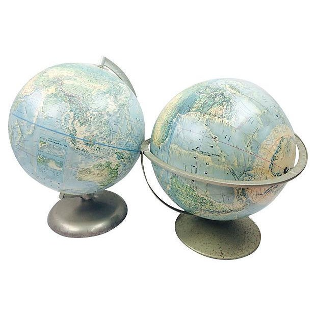 Terrestrial Globes on Metal Stands - Pair - Image 2 of 3