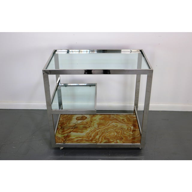 Mid-Century Chrome Glass & Onyx Bar Cart - Image 5 of 8