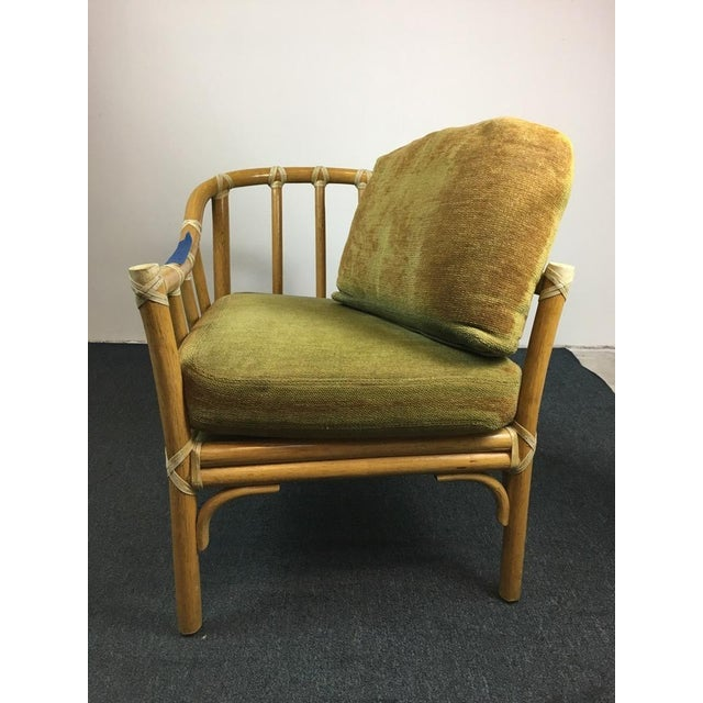 Vintage Bamboo Armchairs & Ottoman - Set of 3 - Image 5 of 9