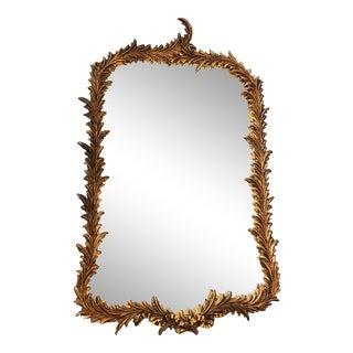 Vintage Wood Frame Mirror With Laurel Leaf Motif For Sale