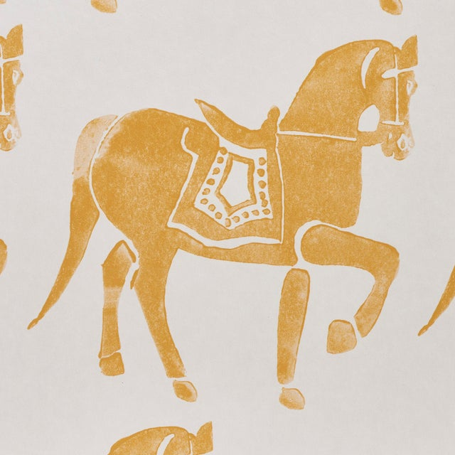 Contemporary Sample - Schumacher x Molly Mahon Marwari Horse Wallpaper in Mustard For Sale - Image 3 of 5