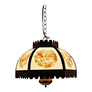 Vintage Currier & Ives Chandelier Pendant Light For Sale