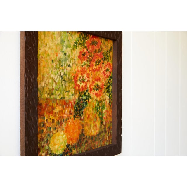 Wood Cheerful Post Impressionist Still Life of Flowers and Fruit For Sale - Image 7 of 9