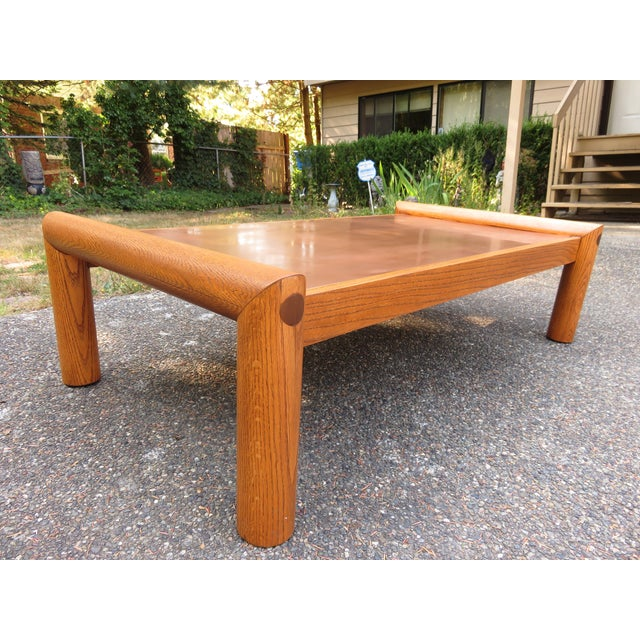 Vintage Modernist Oak & Copper Coffee Table - Image 2 of 6