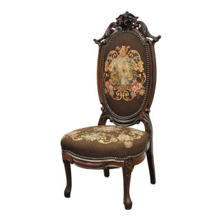Antique Victorian Carved Rosewood & Needlepoint Side Chair For Sale