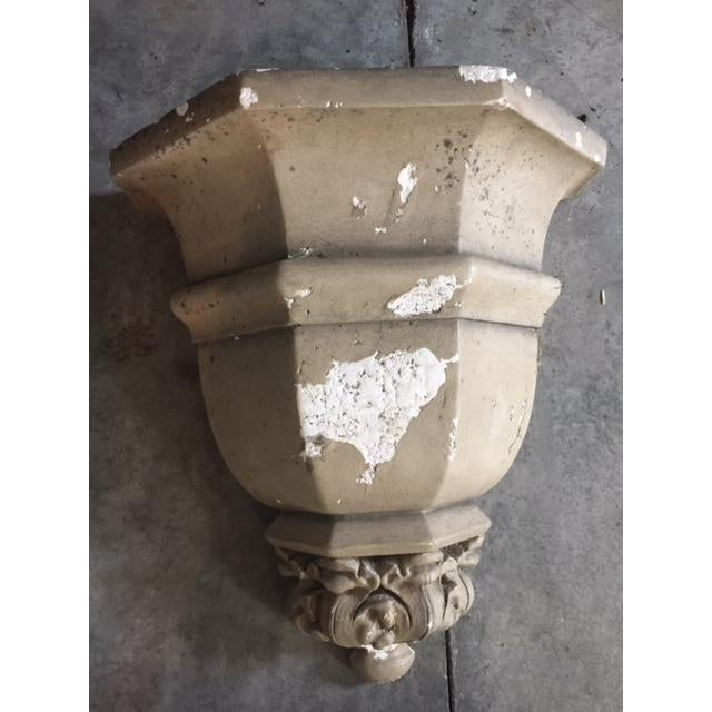 1970s Vintage Cement Wall Planters - A Pair For Sale - Image 5 of 6