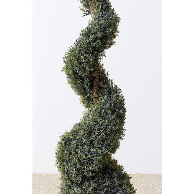 Ceramic Pair of Faux Spiral Cypress Trees in Urns For Sale - Image 7 of 13