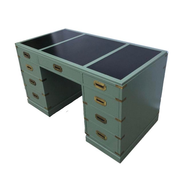 Boho Chic Vintage Green Campaign Style Desk with Leather Top For Sale - Image 3 of 5