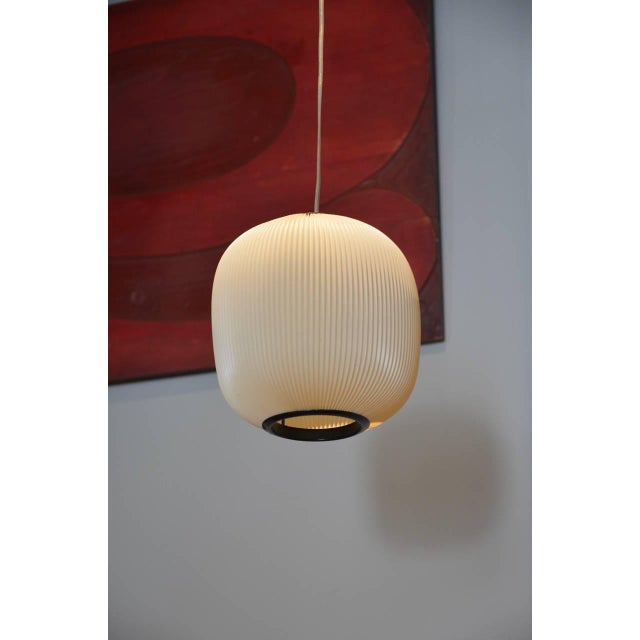 Rare French modern hanging lantern by Rispal. Excellent original condition. Easy to install at any drop.