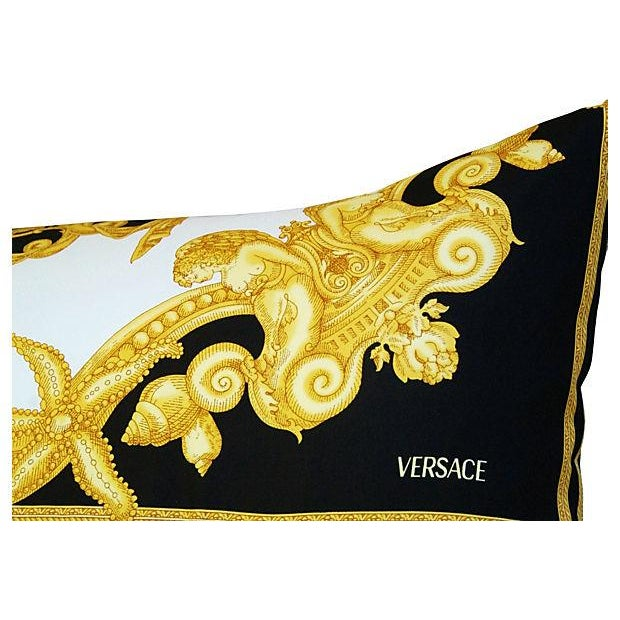 Yellow Large Designer Versace Silk Aquatic Baroque Pillow For Sale - Image 8 of 9