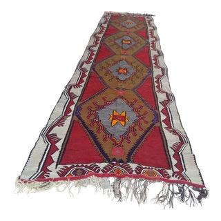 Anatolian Antique Kars Caucasian Kilim Rug - 5′1″ × 18′7″