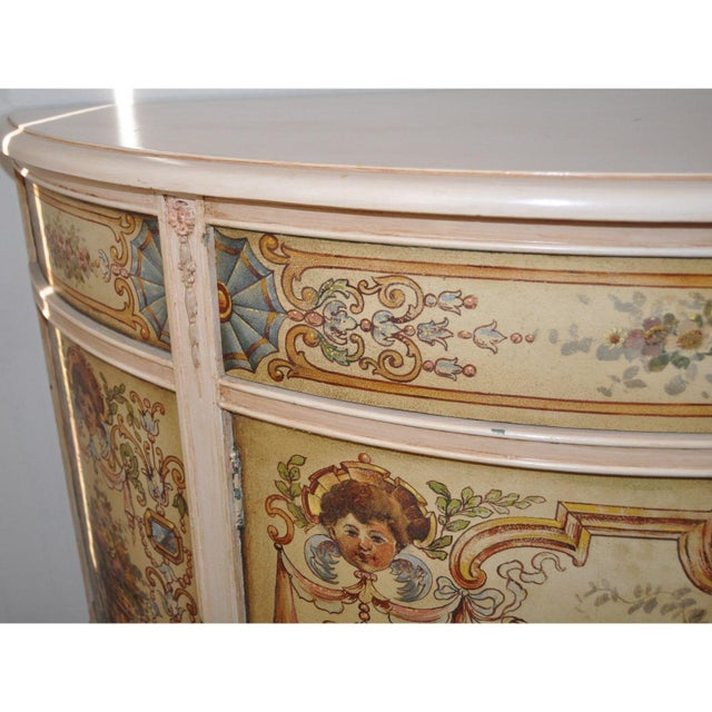 French Painted Demilune Cabinet C. 1940 For Sale - Image 5 of 7