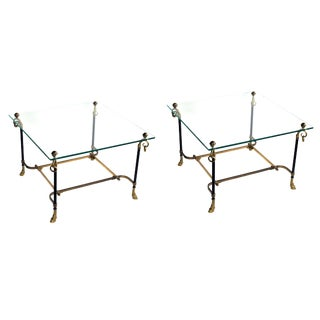 A Good Pair of French Black Tole & Gilt-Bronze Square Side Tables For Sale