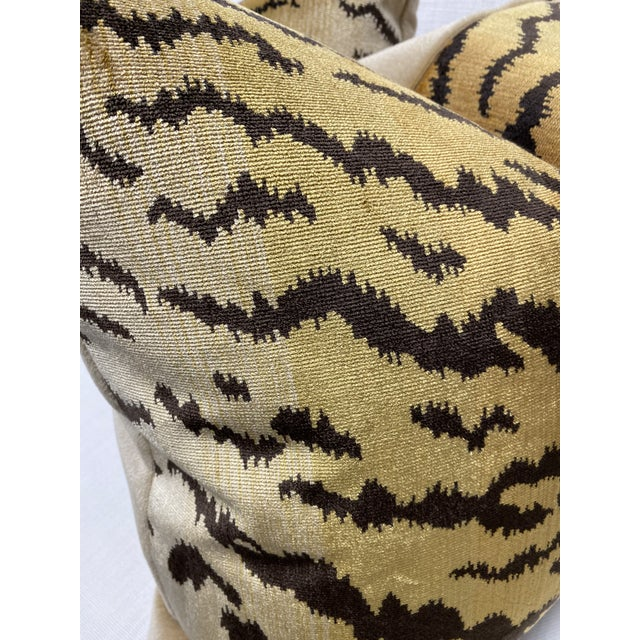 """Scalamandre Scalamandre """"Tiger"""" Brown on Gold"""" Velvet 22"""" Pillows-A Pair For Sale - Image 4 of 6"""