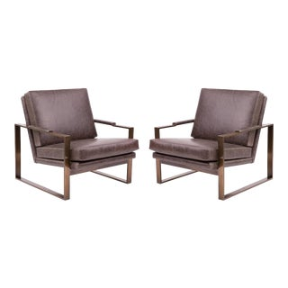 Pair of Milo Baughman Thayer Coggin Leather and Bronze Lounge Chairs