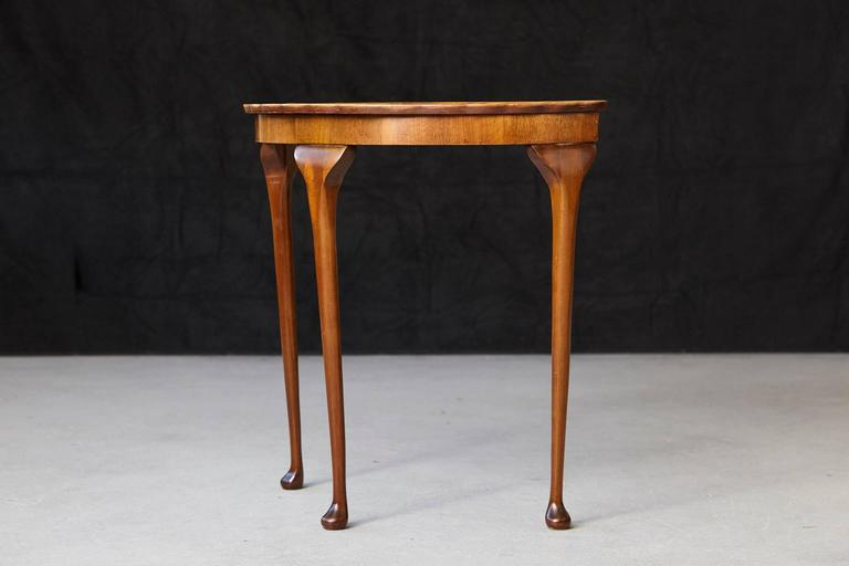 walnut console table. Queen Anne Revival Style Demilune Walnut Console Table With Pie Crust Edge - Image 3 Of