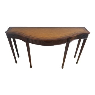 Chippendale Maitland Smith Hard Carved Mahogany and Leather Serpentine Console For Sale