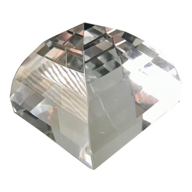 Tiffany & Co Crystal Pyramid Paperweight For Sale