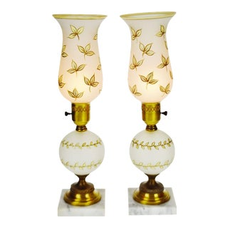 Mid Century Hand Painted Satin Glass Table Lamps With Marble Base - a Pair For Sale