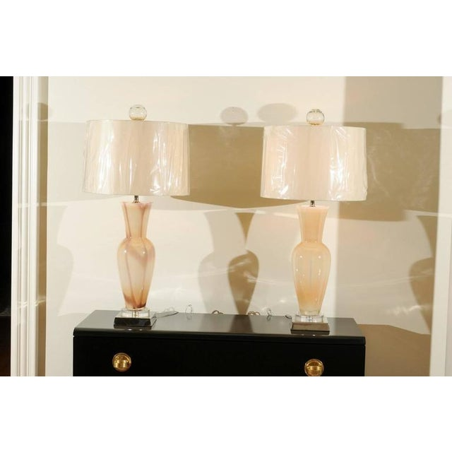 Elegant Restored Pair of Blown Murano Lamps with Custom Orb Finials For Sale - Image 9 of 11