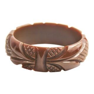 Vintage Bakelite Deeply Carved Chocolate Brown Bangle Bracelet For Sale
