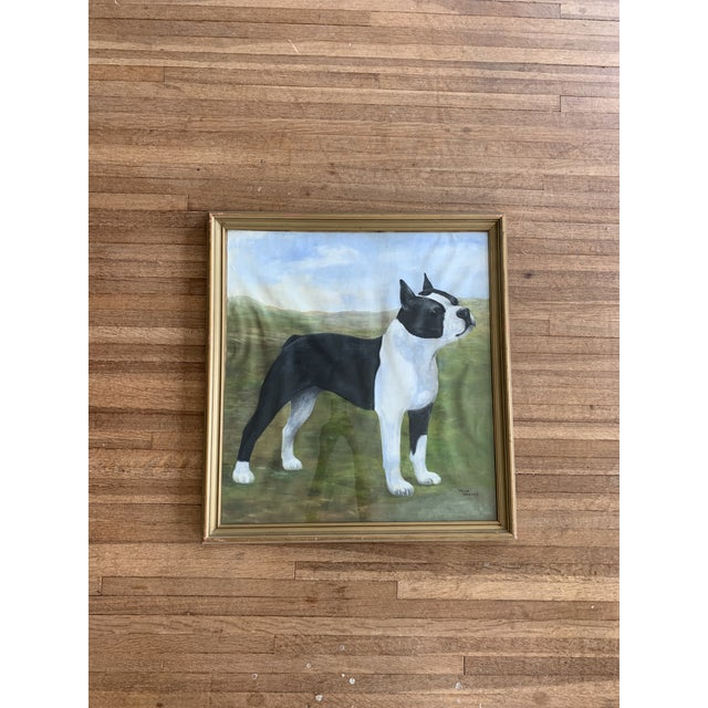 Mid 20th Century Dog Portrait Oil Painting, Framed For Sale In Wichita - Image 6 of 6