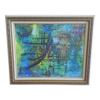 Mid Century Modern Abstract Oil Painting Framed For Sale