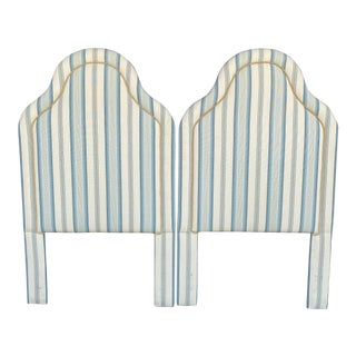 Coastal Linen Upholstered Twin Headboards-Pair For Sale