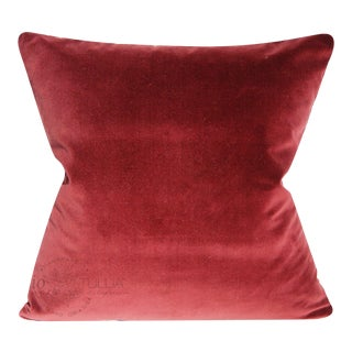 Merlot Cotton and Red Velvet Pillow - 20x20 Inches For Sale