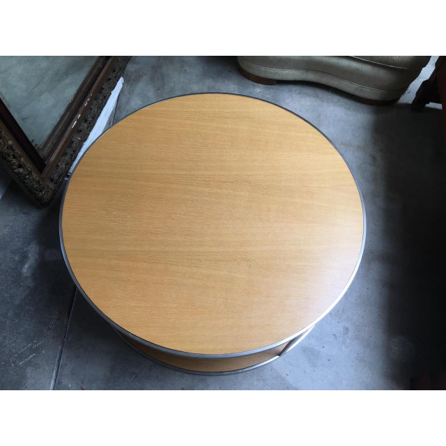 Circular Modern Stainless Steel and Oak Coffee Table For Sale - Image 10 of 11