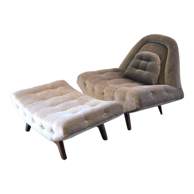 Tufted Gondola Chair and Ottoman by Adrian Pearsall For Sale
