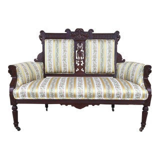 Late 19th century Victorian Eastlake Settee With Damask Stripe Upholstery
