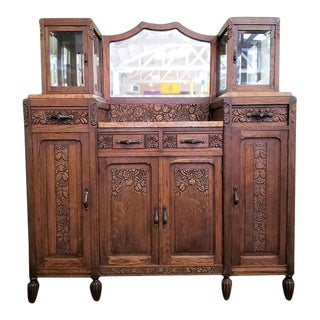 French Oak Art Deco Sideboard W/ Marble Top C.1920 For Sale