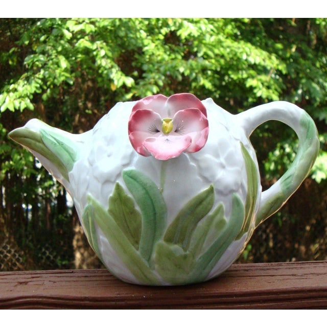 White Green & Pink Porcelain Floral Teapot - Image 2 of 11