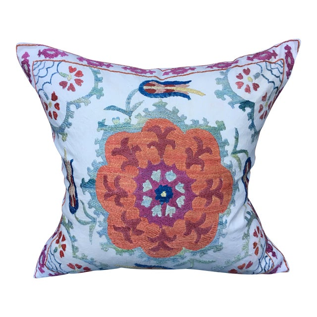 Embroidered Suzani Pillow Cover For Sale