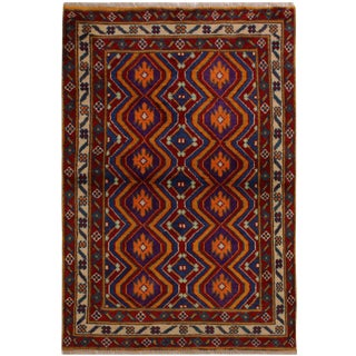 1990s Southwestern Balouchi Concepti Red/Ivory Wool Rug - 3'4 X 4'10 For Sale