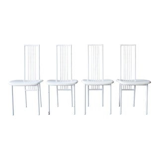 1980s Giandomenico Belotti for Flyline High Back Leather Dining Chairs - Set of 4 For Sale