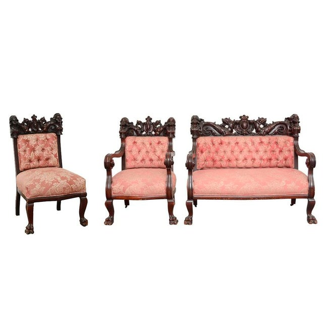 Early 20th Century Vintage S. Karpen & Bros. Renaissance Revival Mahogany Parlor Set- 3 Pieces For Sale - Image 13 of 13