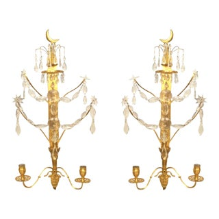 A Lovely Pair of Continental Gilt Bronze and Crystal Wall Sconces For Sale