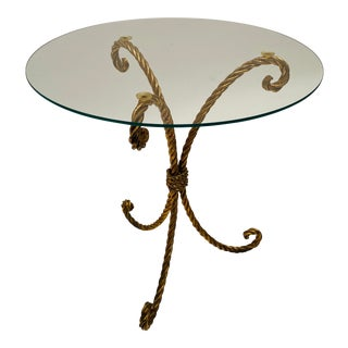 Hollywood Regency Italian Gilt Metal Rope Accent Table For Sale