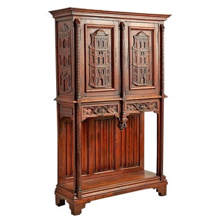 Ornately Carved Sideboard W/ Renaissance Revival Towers Circa 1930s