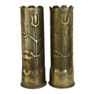 1910s W W I Shell Casings Trench Art Vases - Set of 2 For Sale