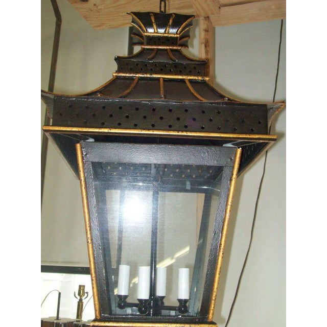 Asian A Pair of Custom Asian-Inspired Tole Painted Lanterns For Sale - Image 3 of 6