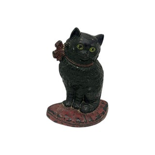 1920s Cast Iron Black Cat Doorstop For Sale