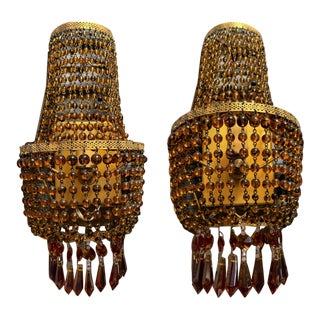 Mid-Century Amber Glass Beaded Electric Candle Sconce - a Pair For Sale