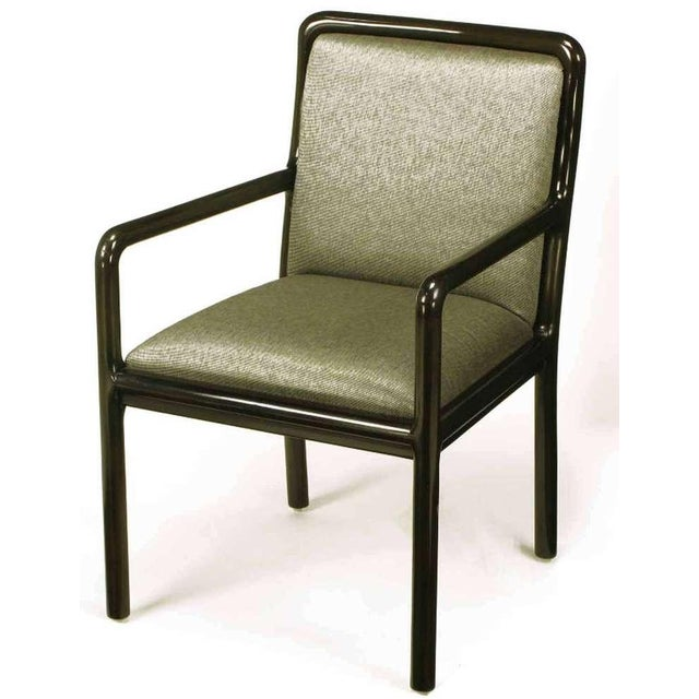 Four Martin Brattrud Ebonized & Upholstered Arm Chairs. - Image 3 of 9